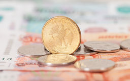 Russische munt, roebel: bankbiljetten en muntstukken Stock Afbeelding