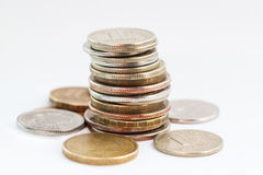 Russische muntstukken stock foto's