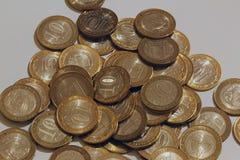 Russische muntstukken ` 10 roebels ` Stock Afbeeldingen