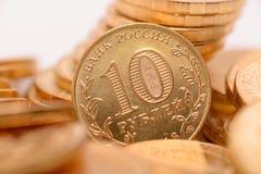 Russische muntstukkenclose-up Stock Foto