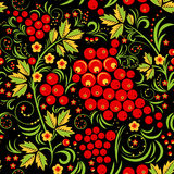 Khokhloma nahtloser Muster-Hintergrund Stockfotografie