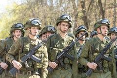 Russische Offiziere an der Parade anlässlich der Victory Day-Feiern am 9. Mai Stockfotografie