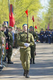 Russische Offiziere an der Parade anlässlich der Victory Day-Feiern am 9. Mai Stockbild