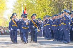 Russische Offiziere an der Parade anlässlich der Victory Day-Feiern am 9. Mai Lizenzfreie Stockbilder