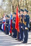 Russische Offiziere an der Parade anlässlich der Victory Day-Feiern am 9. Mai Stockbilder