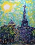 Russische orthodoxe geistige, kulturelle Mitte und Eiffelturm in Paris Lizenzfreie Stockfotografie