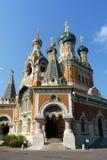 Russische Orthodoxe Kerk in Nice, Frankrijk Stock Foto's