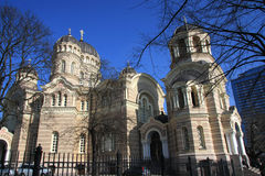 Russische Orthodoxe Kerk in Riga Stock Fotografie
