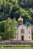 Russische Orthodoxe Kerk in Slecht EMS op rivier Lahn in Duitsland Royalty-vrije Stock Afbeelding