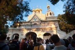 Russische Orthodoxe Kerk van Mary Magdalene, Jeruzalem Stock Foto's