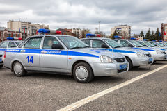 Russische patrouillewagens van het Automobiele Inspectoraat van de Staat op Stock Fotografie