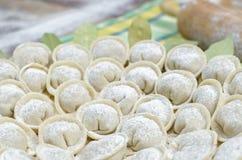 Russische pelmeni van vleesbollen op groene handdoek Dichte omhooggaand Stock Fotografie
