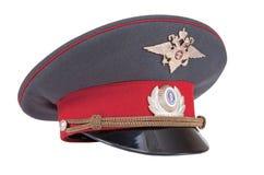 Russische Polizei bedeckt mit einer Kappe Lizenzfreies Stockfoto