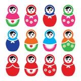 Russische pop, retro geplaatste babushka kleurrijke pictogrammen Royalty-vrije Stock Afbeeldingen
