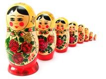 Russische poppen in lijn Royalty-vrije Stock Foto