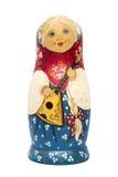 Russische poppenmatrioshka met geïsoleerde steenverf Stock Afbeelding