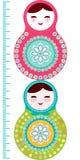 Russische poppenmatryoshka op witte achtergrond, roze Stock Fotografie