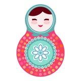 Russische poppenmatryoshka op witte achtergrond, roze en blauwe kleuren Vector Royalty-vrije Stock Foto's