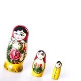 Russische Puppen Matryoshka lokalisiert auf einem weißen Hintergrund Stockfoto