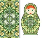 Russische Puppenspielzeugandenken, nahtloses geometrisches Blumenmuster Stockbild