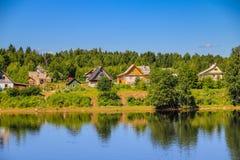 Russische rivierstad Stock Afbeelding