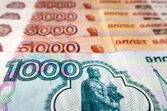 Russische roebels Royalty-vrije Stock Foto's