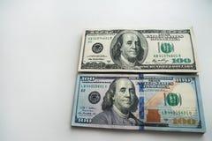 Russische roebels en Amerikaanse dollars Stock Afbeeldingen
