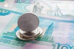 Russische roebels en duizenden roebels Royalty-vrije Stock Foto