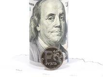 Russische roebels en U S Dollars Royalty-vrije Stock Afbeeldingen