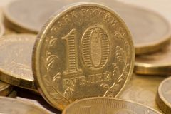 10 Russische roebels, muntstukkenclose-up Royalty-vrije Stock Foto's