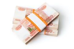 Russische roebels op wit Royalty-vrije Stock Fotografie