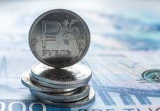 Russische roebelsmuntstukken stock fotografie