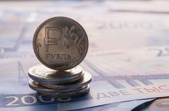 Russische roebelsmuntstukken stock afbeelding