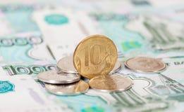 Russische roebelsmuntstukken en bankbiljetten Royalty-vrije Stock Afbeelding