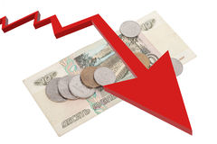 Russische Rubel Banknoten und Münzen Stockfotos