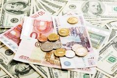 Russische Rubel, Euro und Dollar Anmerkungen Lizenzfreie Stockbilder