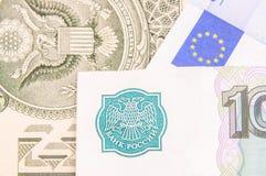 Russische Rubel, Euros, Dollar Lizenzfreie Stockfotografie
