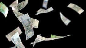 Russische Rubel Rubel-Geld-Schleifen, dieauf Schwarzes mit Luma Matte Seamless Loop 4K fallen stock abbildung