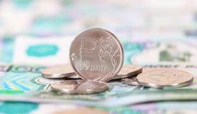 Russische Rubel Münzen und Banknoten Lizenzfreies Stockfoto