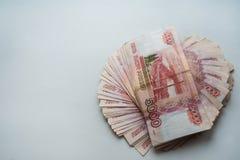 Russische Rubel und amerikanische Dollar Stockfoto