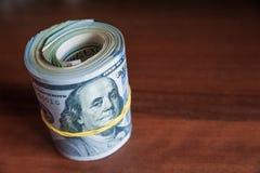 Russische Rubel und amerikanische Dollar Stockfotografie