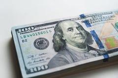 Russische Rubel und amerikanische Dollar Stockfotos