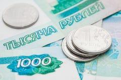 Russische Rubel und Tausenden Rubel Stockbild
