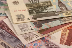 Russische Rubel. Verschiedene Banknoten. Lizenzfreie Stockfotos