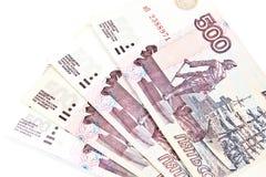 500 russische Rubel wenige Anmerkungen. Lizenzfreies Stockfoto