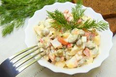 Russische salade Olivier Royalty-vrije Stock Foto's