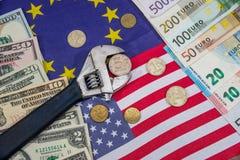 Russische sancties euro en dollar versus roebel Vlag Stock Foto