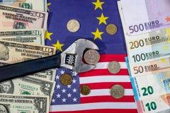 Russische sancties euro en dollar versus roebel Vlag Royalty-vrije Stock Afbeeldingen