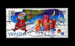Russische Santa Claus met pijnboom-boom als folktale persoon voor Nieuwjaar, circa 2008, Stock Afbeeldingen