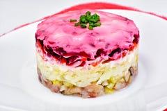 Russische Shuba-Salade met Bieten, Aardappels, Wortelen en Haringen stock afbeeldingen